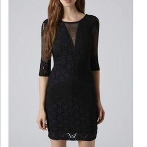 Topshop Lace and Mesh Bodycon Dress